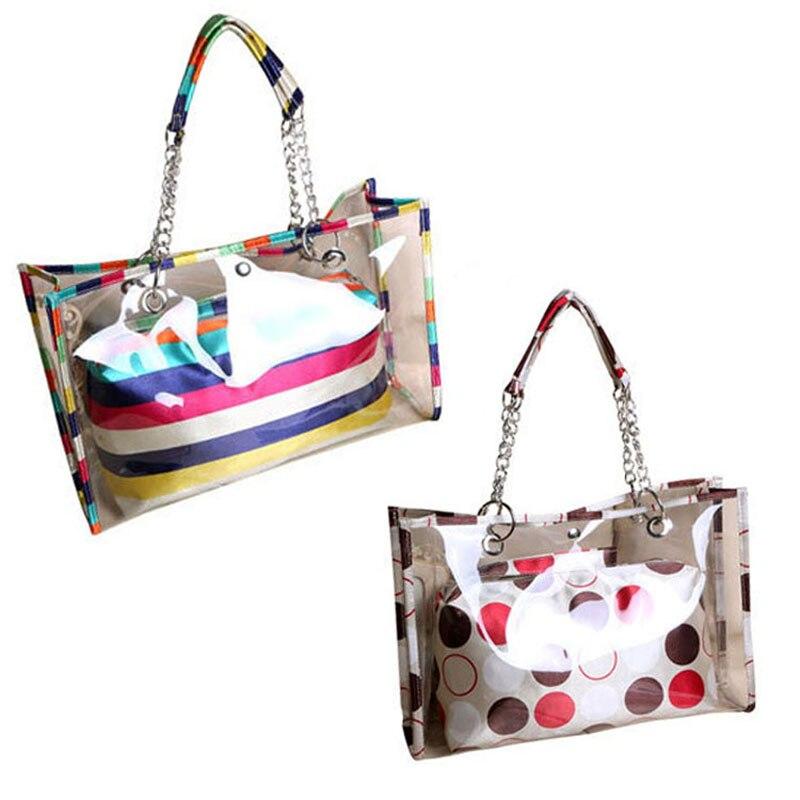 a6356c389e40 Новый Для женщин сумки прозрачный в полоску/Флаг/точечная роспись плечо пляжная  сумка ПВХ сумка Сумки