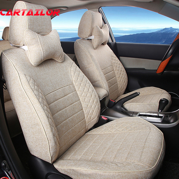 CARTAILOR Car Seat Covers Set for Nissan Sunny Seat Cover Flax Fabric Cover Seats Car Styling Seat Protectors Airbag Compatible image