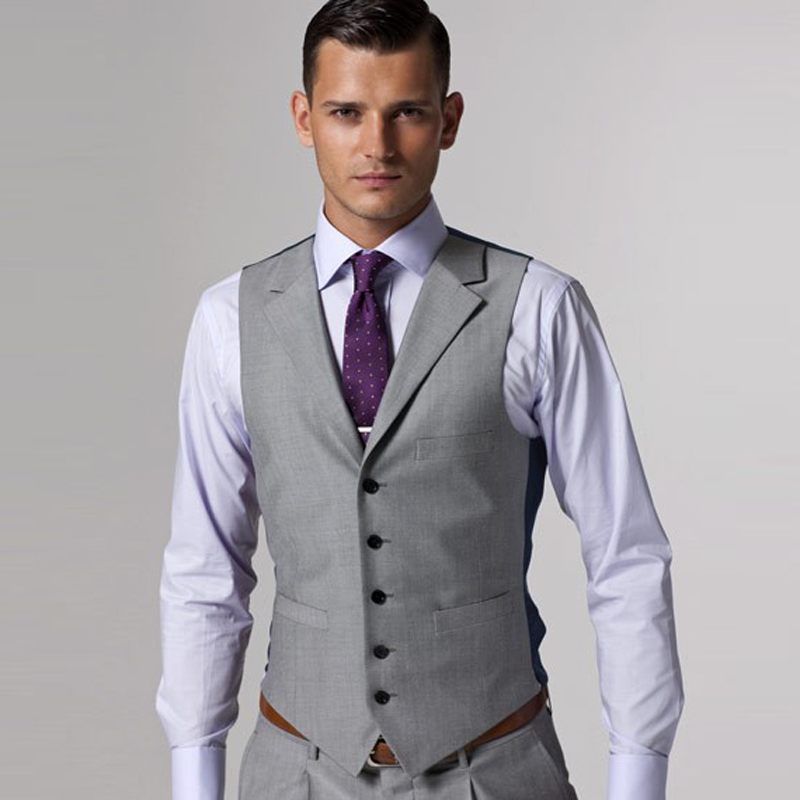Gray Business Mens Suits with Notched Lapel 3 Piece Formal Wedding Groomsmen Tuxedo for Prom Male Fashion Set Jacket Pants Vest 3