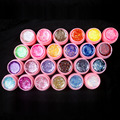 New 24Pcs Mix Color Glitter Hexagon Sheet Nail Art UV Builder Gel for False Tip Set PINK POT