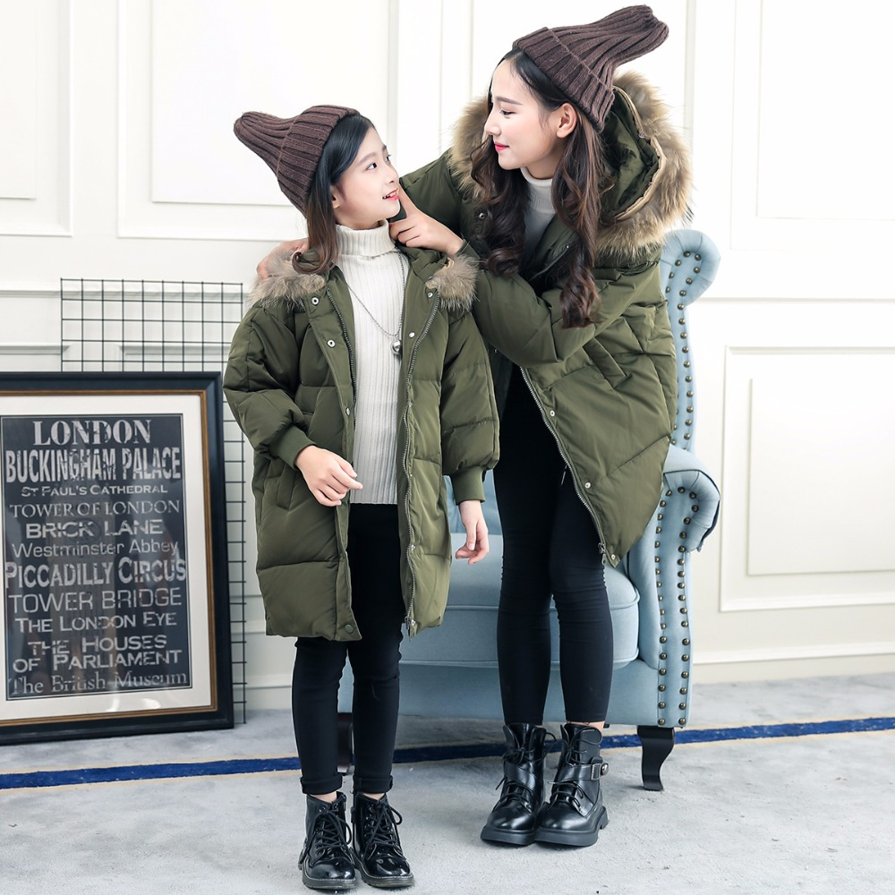 HSSCZL Girls Down Jacket 2017 Brand Girl& Mother Down Jackets Coat Outerwear Hooded Natural Fur Collar Children Overcoat Parkas a15 girls down jacket 2017 new cold winter thick fur hooded long parkas big girl down jakcet coat teens outerwear overcoat 12 14