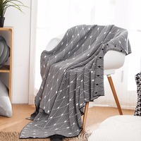 Geometric Knitted Blanket Classic Decorative Pattern Bed Travel Nap Leisure Blanket Colorfast Sofa Throw Plaid On The Bed