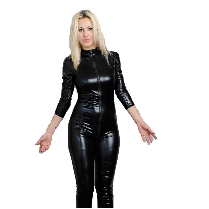 Women Clothing Black Latex Erotic Catsuit Front Zipper Pole Dance Lingerie Faux Leather Sexy Bodycon Jumpsuit Clubwear Bodysuit