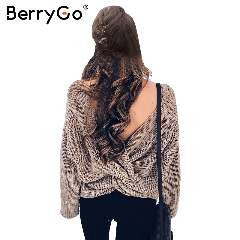 BerryGo V neck sweater women loose long sleeve pull 2017 Fashion back bow soft pullovers thin sweaters jumper