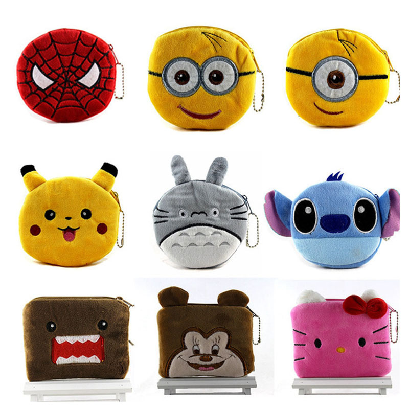 24Styles Hot On Sale Kawaii Cartoon Spiderman/Unicorn Children Plush Coin Purse Zip Change Purse Wallet Kids Girl Women For Gift