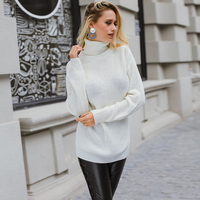 Lily Rosie Girl Fashion Back Lace Up Women Sweaters Turtleneck Pullovers White 2017 Autumn Winter Femme