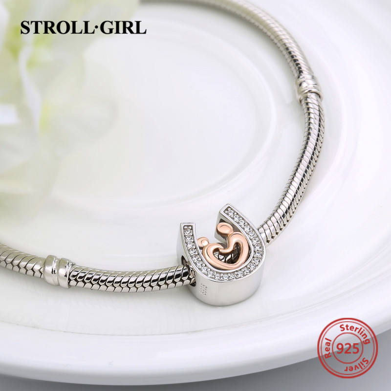 StrollGirl 925 Silver Beads horse shoe mom and kid charms Fit Authentic Pandora Bracelet Fashion Jewelry for Mother 39 s Day Gift in Beads from Jewelry amp Accessories
