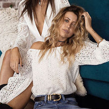 Fashion Women Off Shoulder Blouse Summer White Long Sleeve Shirt Loose Crochet Hollow Out Tops