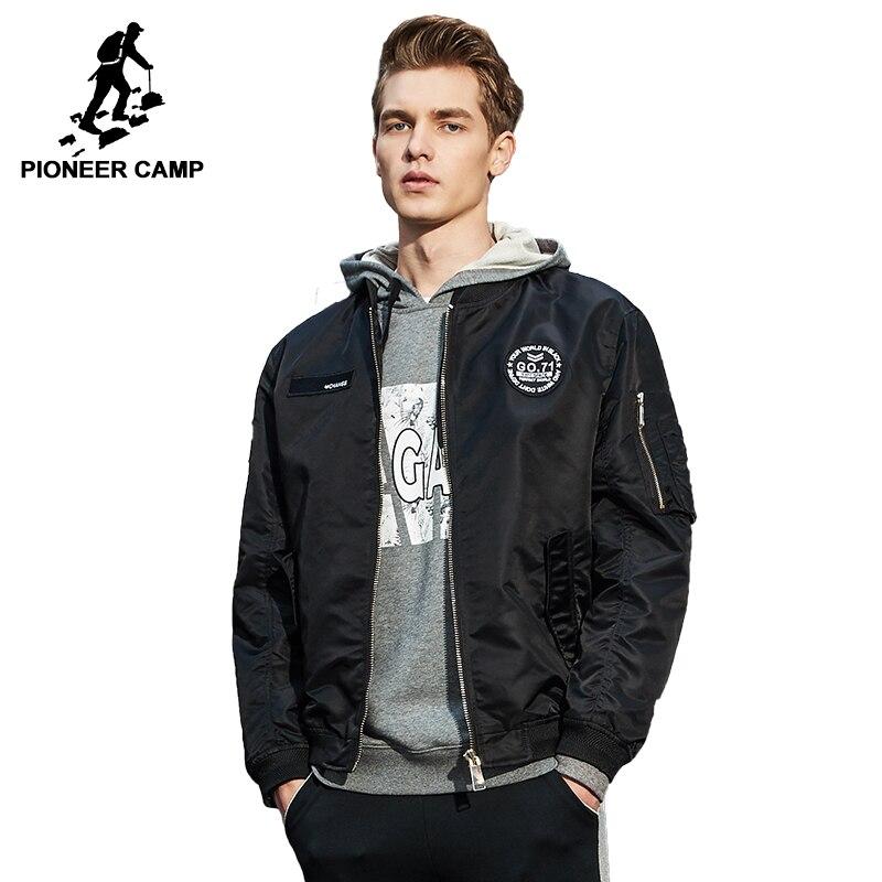 Pioneer Camp Primavera homens jaqueta bomber blusão jaqueta masculina de roupas de marca de qualidade casaco outerwear preto verde do exército AJK707001