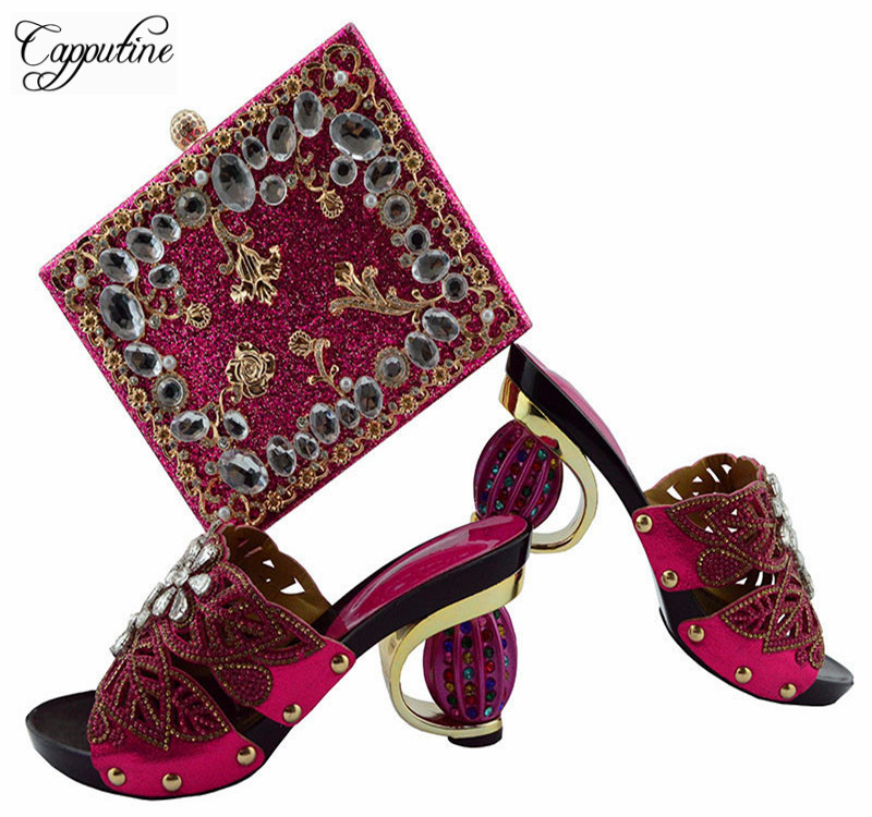 Capputine Latest Italian Shoes With Matching Bags Nigeria Wedding Shoes And Bag To Match Stones African Shoes And Bag Set GL04 nigeria wedding african shoes and matching bag set with stones colorful high heels italian shoes with bag set to match th16 43