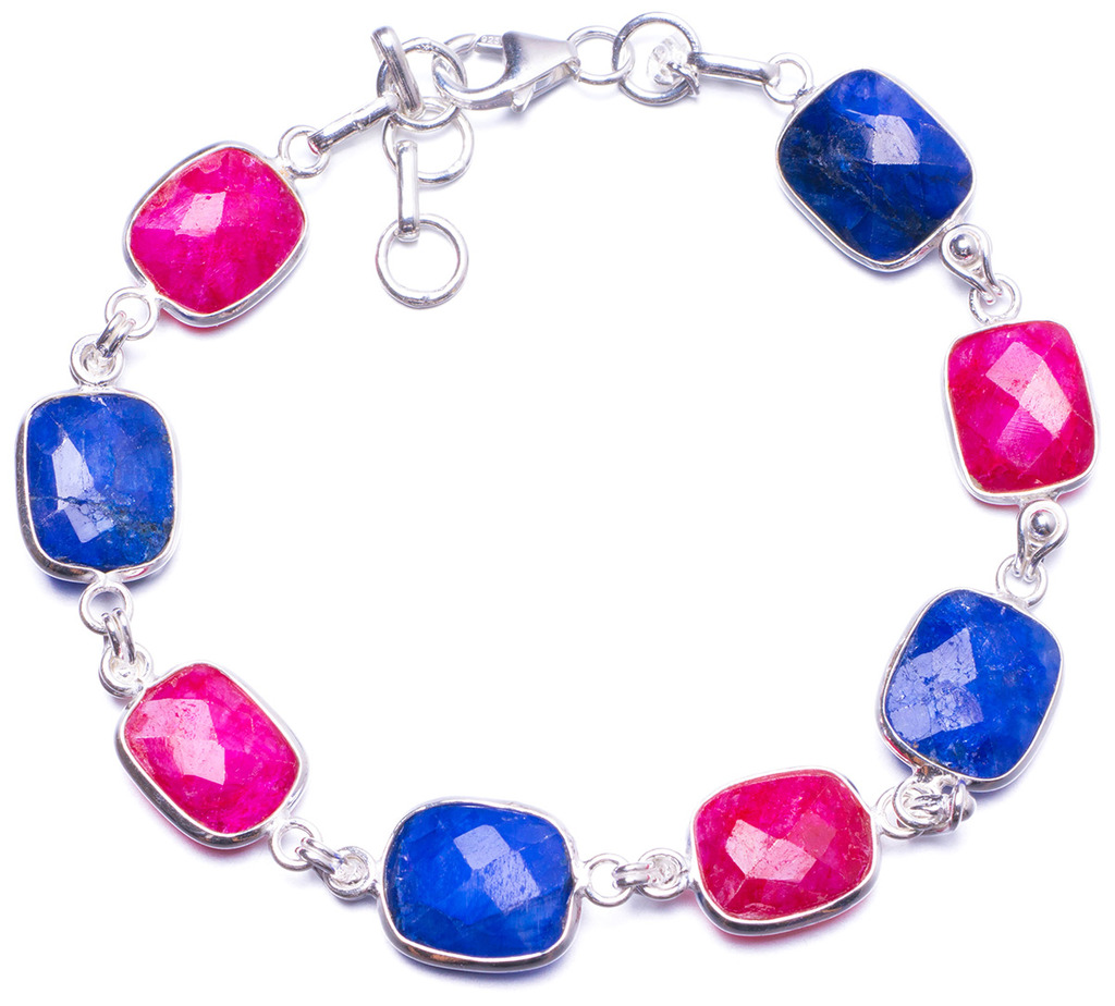 Natural Sapphire and Cherry Ruby Handmade Unique 925 Sterling Silver Bracelet 7 3/4-8 1/2 Y1376 цена