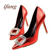 ifang Rhinestone Pumps Women Wedding Pumps Victoria Crystal font b Shoes b font Woman 2016 Women