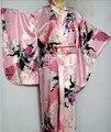 Горячая распродажа розовый японский винтаж оригинал традиция кимоно юката платье с оби один размер H0045