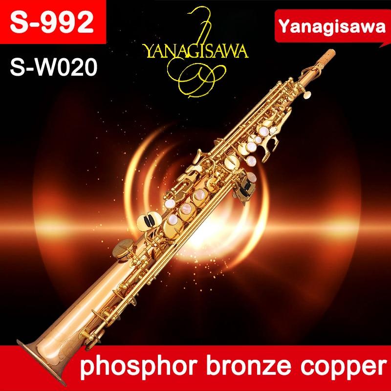 Professionale Sassofono Soprano YANAGISAWA SW020 S992 BB bronzo di fosforo di rame Dritto Sax Strumenti Musicali Bocchino Scatola
