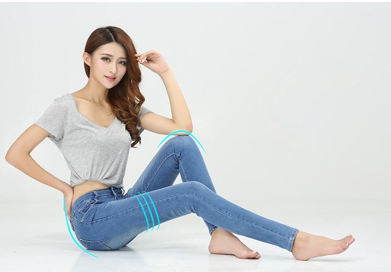 WQJGR Spring And Autumn Outfit Size Women Jeans Waist Slimming Feet Pencil Blue Women Jeans Women Long Pants 10