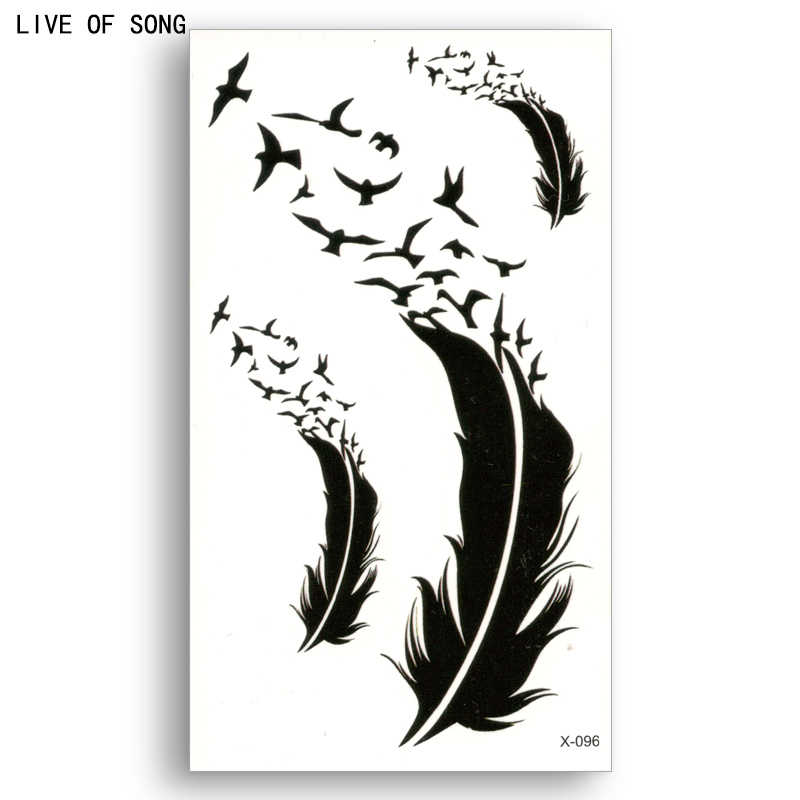 Fake temporary tattoo Water Transfer Black bird feathers Sticker Men Women Beauty Sexy Cool Body Art Live of Song X096