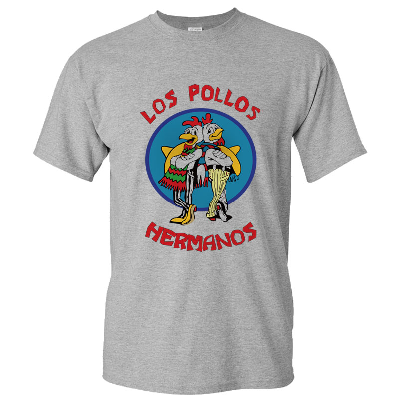 Moda uomo Breaking Bad Camicia 2016 LOS POLLOS Hermanos T Shirt Pollo Brothers Short Sleeve Tee Hipster Vendita Calda top