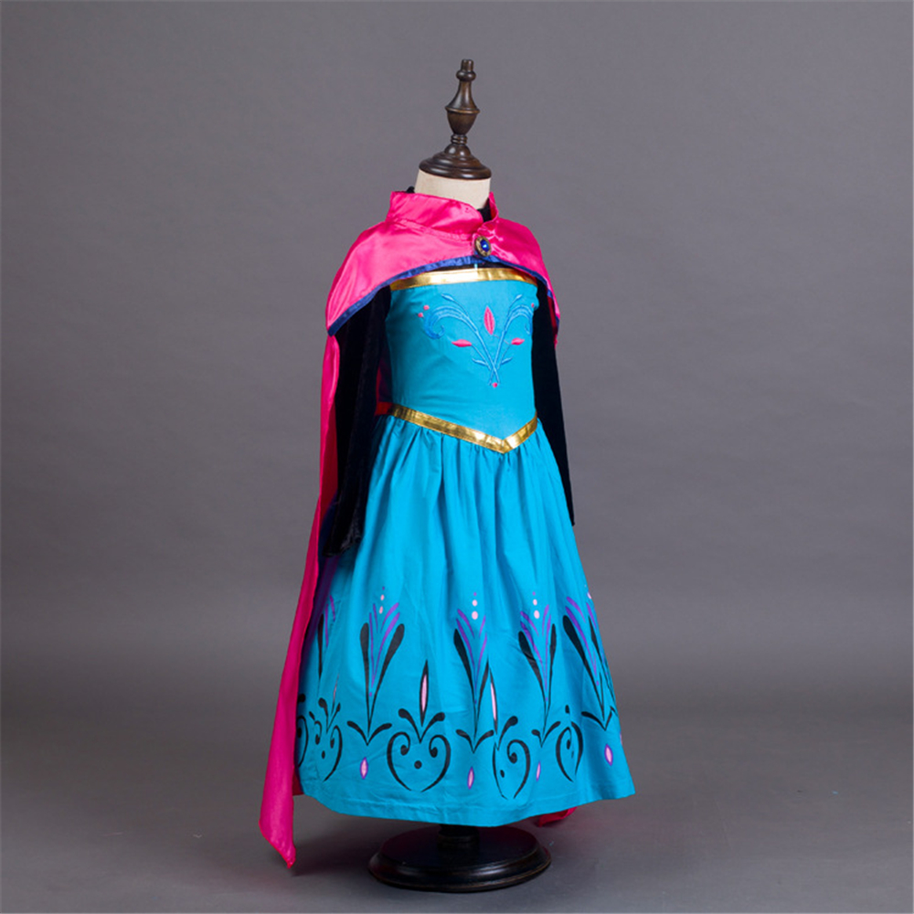 Anna Princess Dress for Girls New Years Party Costumes with Red Cloak Winter Elsa Long Sleeve Blue Dresses Fairy Cosplay Clothes