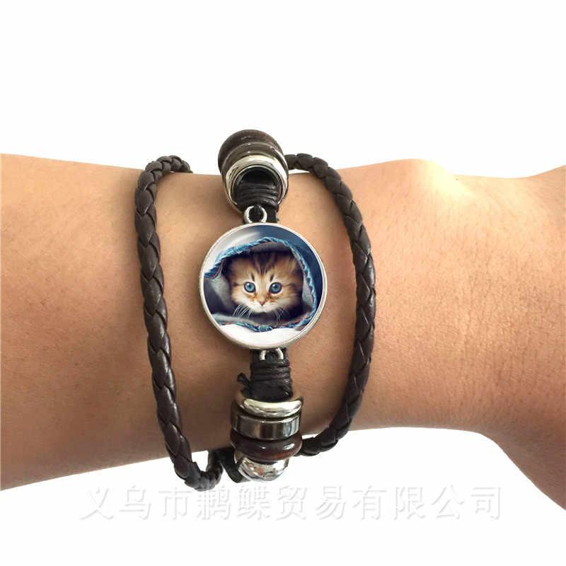 猫パターン化ラウンドガラスドーム型ブレスレットアニマル柄シリーズ黒/茶色の革調節可能なバングル猫ラヴァークリエイティブギフト