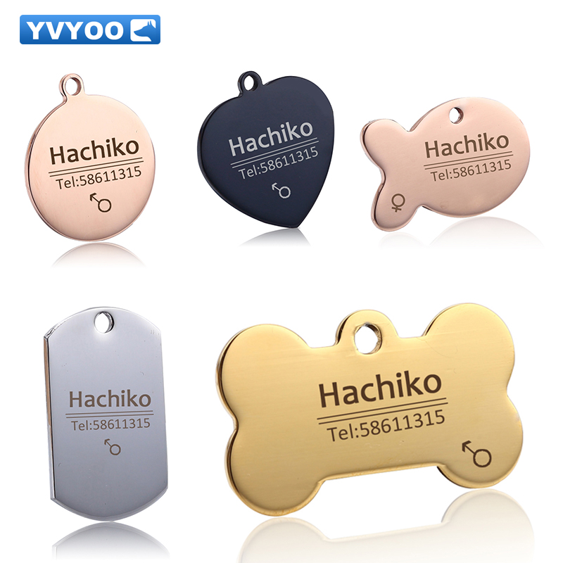 YVYOO Gratis ukiran Pet Dog cat kerah aksesoris Dekorasi Pet ID Dog Tags Kerah stainless steel tag kucing
