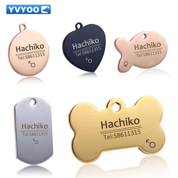 YVYOO Free engraving Pet cat collar accessories Decoration Pet ID Dog Tags Collars stainless steel dog cat tag customized tag bmw f30 akrapovic auspuffblende