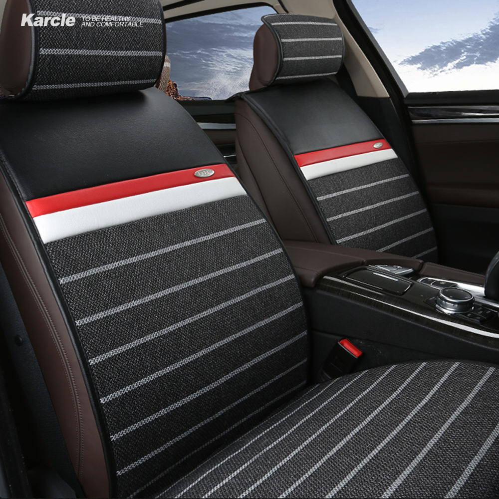 Karcle Healthy Seat Covers Kit Colth&Leather 4 Seasons Breathable Seat Cushion Anti-Skid Car styling for Ford for BMW Accessorie