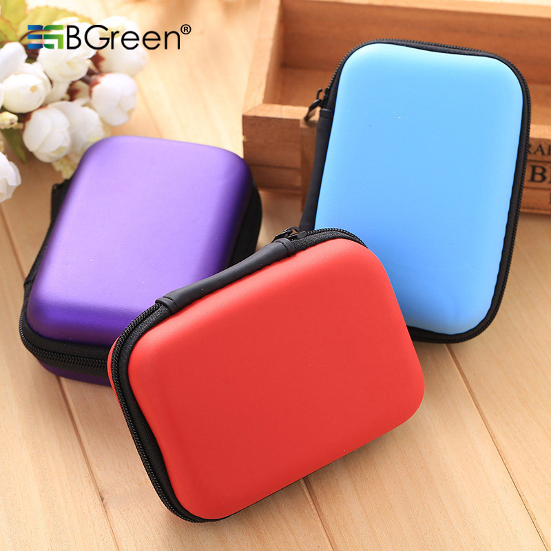 BGreen Headphone Zipper Box Earphone Earbud Hard Case USB Cable Trinket Storage Carrying Pouch Bag SD Card Hold EVA Shockproof
