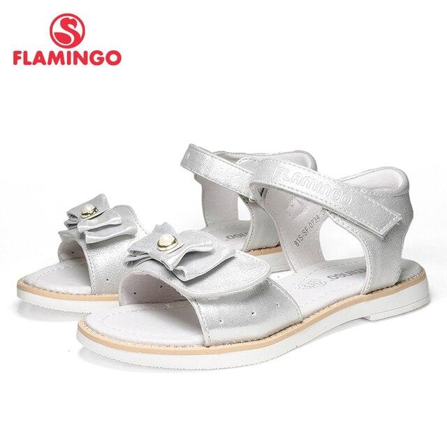 Фламинго Марка 2018 с бантом Лето Hook & Loop повседневные сандалии из искусственной кожи pricness Серебряный малышей уличная детская обувь 81S-SF-0734