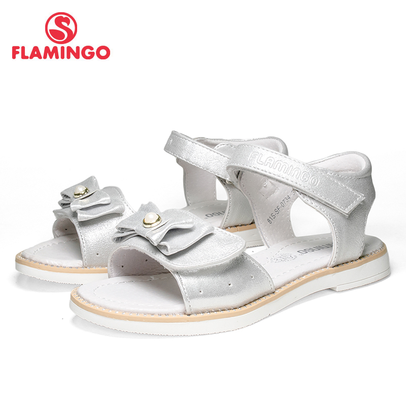 FLAMINGO Brand 2018 Bowtie Summer Hook& Loop Casual Sandals Leather PU Pricness Silver Toddler Outdoor kids shoes 81S SF 0734