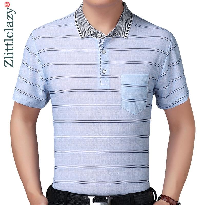 2019 designer brand short sleeve slim fit   polo   shirt men casual jersey striped mens   polos   vintage pocket quality tee shirt 56817