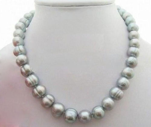 100% Selling Picture full NEW 18 inch huge AAA12-13mm Natural south sea baroque gray pearl necklace