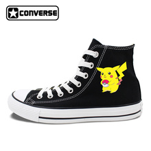 Skateboarding Shoes Design Black White Colors High Top Converse Chuck Taylor Pokemon Pikachu Unisex Canvas Sneakers