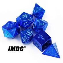 IMDG 7 teile/satz Kreative RPG Spiel Würfel Polyeder Metall Würfel DND Große Schrift Blau Farbe Digitale Spiel Würfel