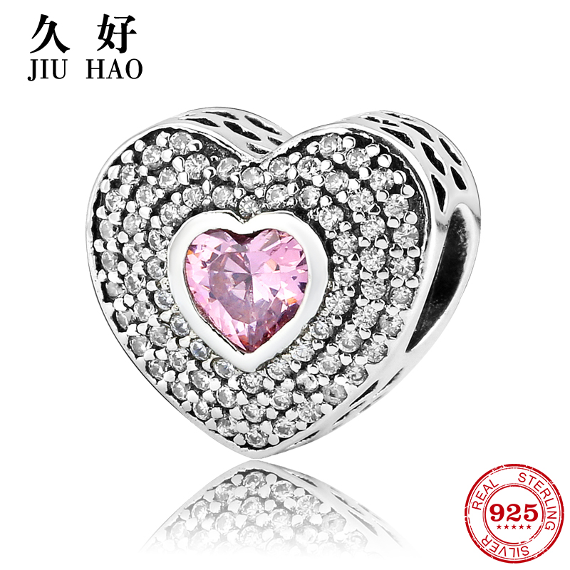 925 Sterling Silver fashion pink Layers heart CZ beads Fit Original Pandora Charm Bracelet Jewelry making Valentines Day gift