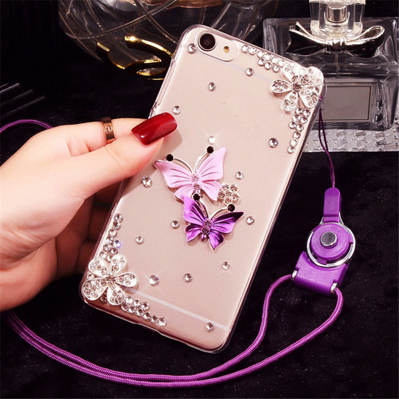 For LG K10 (2018) Cover Case Fashion Butterfly Flower Rhinestone Phone Case Soft Rubber back Cover - intl