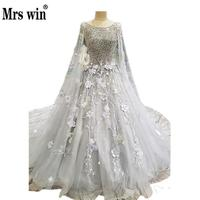 Luxury Grey Wedding Gown Floor Length Sleeveless Fulled Beaded Top Real Photo Lace Flower Embroidery Sequined
