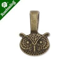 12x18mm High Quality antique bronze plated owl shape glue On Bails Charm/Pendant,sold 50pcs/lot-C3722