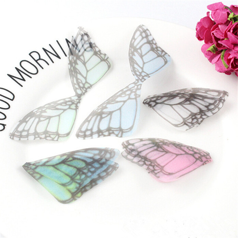 20pcs/lot New Creative Charms Chiffon Yarn Butterfly Wing Pendant Connector For Diy Earrings Jewelry Making Material Accessories