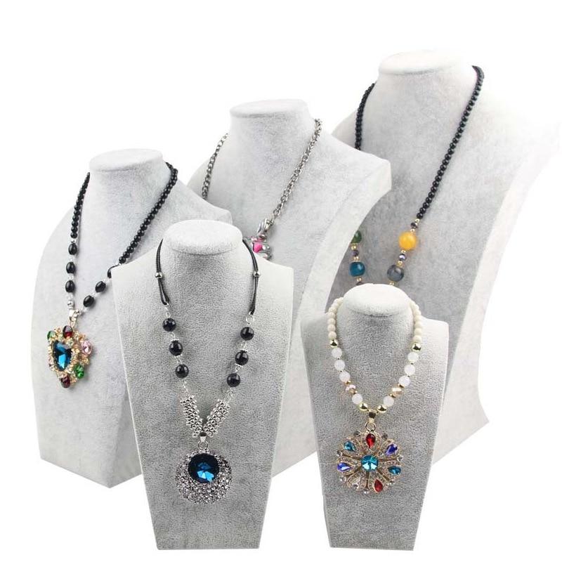 Grey Velvet Portrait Jewelry Display Necklace Display Rack Stand Holder Jewelry Mannequin Bust Pendant Necklace Window Display
