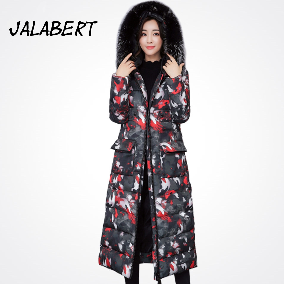 2017 New winter extra long jacket women Thicken coat female outerwear Hooded big Fur collar fashion Slim printing coats