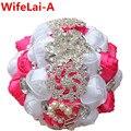Потрясающие Розовый Белый Холдинг Искусственные Цветы Кристалл Свадебные Букеты Шелковый Невесты Свадебные Букеты W228 Пользовательский Цвет