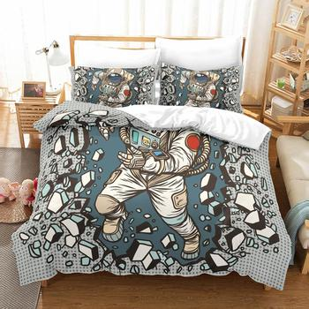 3D Cosplay Astronaut bedding set Twin Queen King duvet cover set cotton polyester  comforter bedding sets bedclothes bed linen white lace comforter bedding set bed linen cotton duvet cover queen size luxury bedding set twin bed cover set home textile