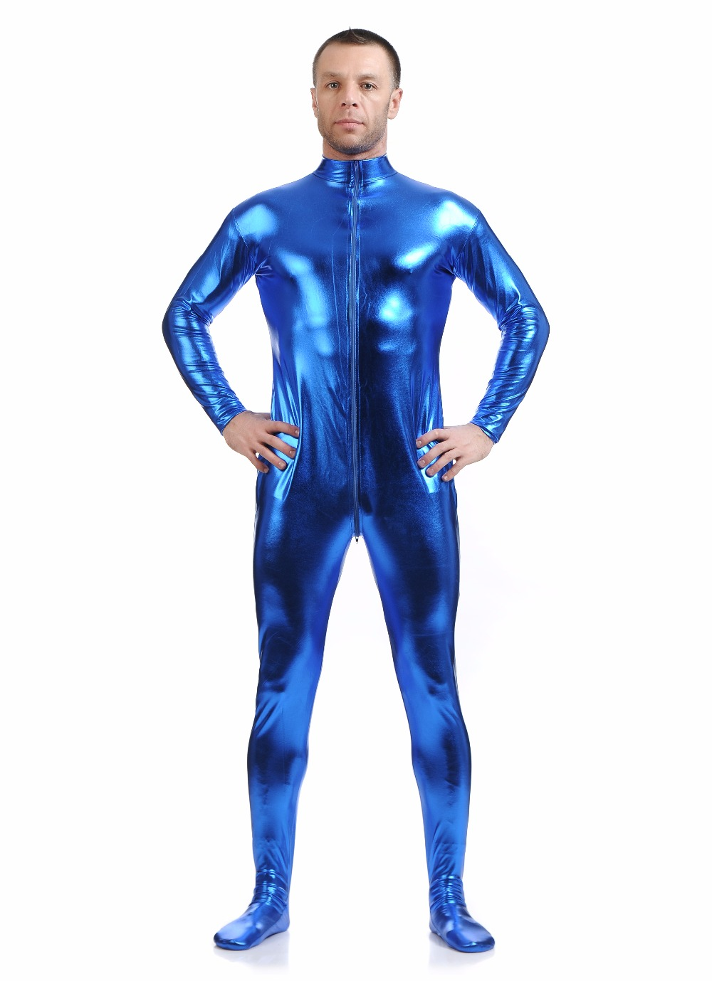 Unisex Blue Zentai Suit Men Front Zip Full Body Zentai Catsuits Spandex Unitard Mock Neck Metallic Lycra Bodysuits No Hood