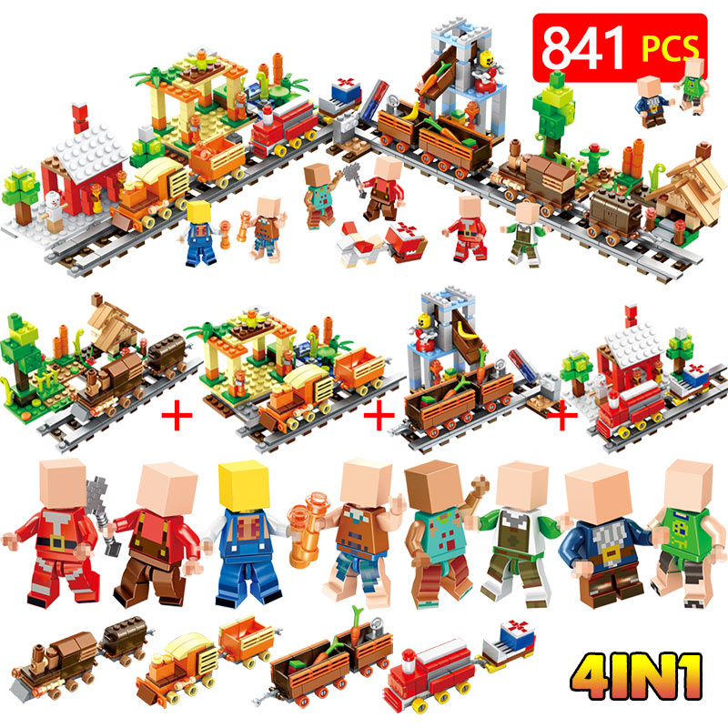 2018 Technic Blocks LegoINGLYS Minecrafter Railway cottage farm Modle Mini Action Figures Bricks Toys For children цена