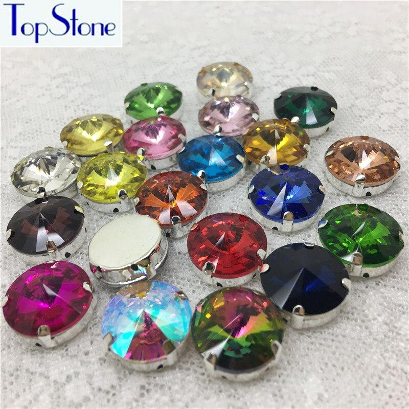 High Quality Rivoli Crystal glass Sew on Claw Rhinestone Multi Colors 6~18mm  Round Sew on Stone garment accessories diy-in Rhinestones from Home   Garden  on ... 0c539fb0b677