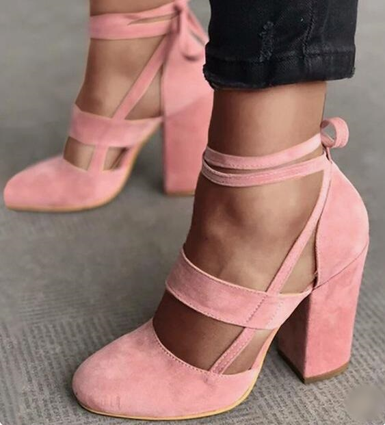 2019 hot selling pink suede buckle strap woman spring pumps round toe chunky heel sweet dress shoes wedding