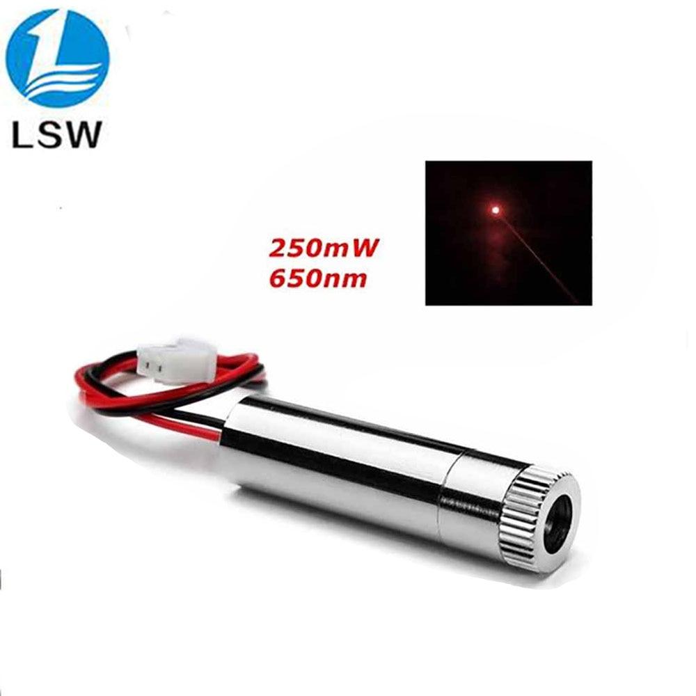 Module de point laser rouge 250 mW 650nm laser haute puissance avec mise au point tête Laser de machine de gravure bricolage