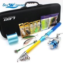 NEW 1.8M 2.1M 2.4M 2.7M 3.0M Telescopic Fishing Rod Combo Full Kit Spinning Reel Pole Set Free shipping