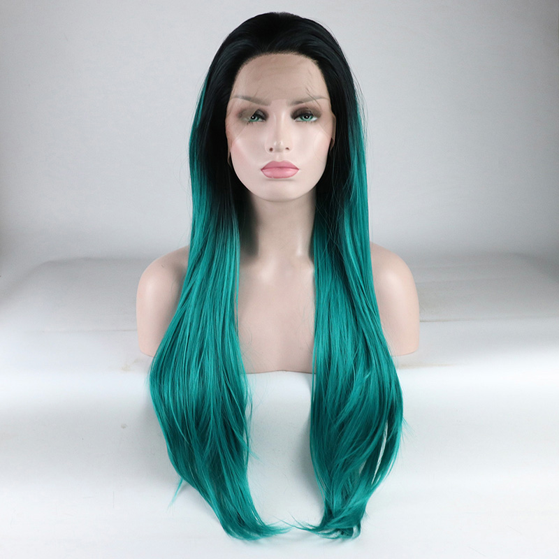 Marquesha Realistic Looking Light Wavy Heat Resistant Fiber Replacement Ombre Blue Synthetic Lace Front Wig For Women