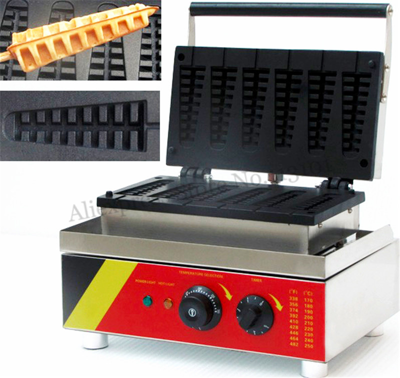 6 Molds Nonstick Electric Lolly Waffle Machine Commercial Short Pine-tree Shape Waffle Maker 110V 220V6 Molds Nonstick Electric Lolly Waffle Machine Commercial Short Pine-tree Shape Waffle Maker 110V 220V